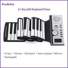 Piano eletrônico de silicone com 61 teclas, teclado virtual MIDI de enrolar, flexível portátil e dobrável