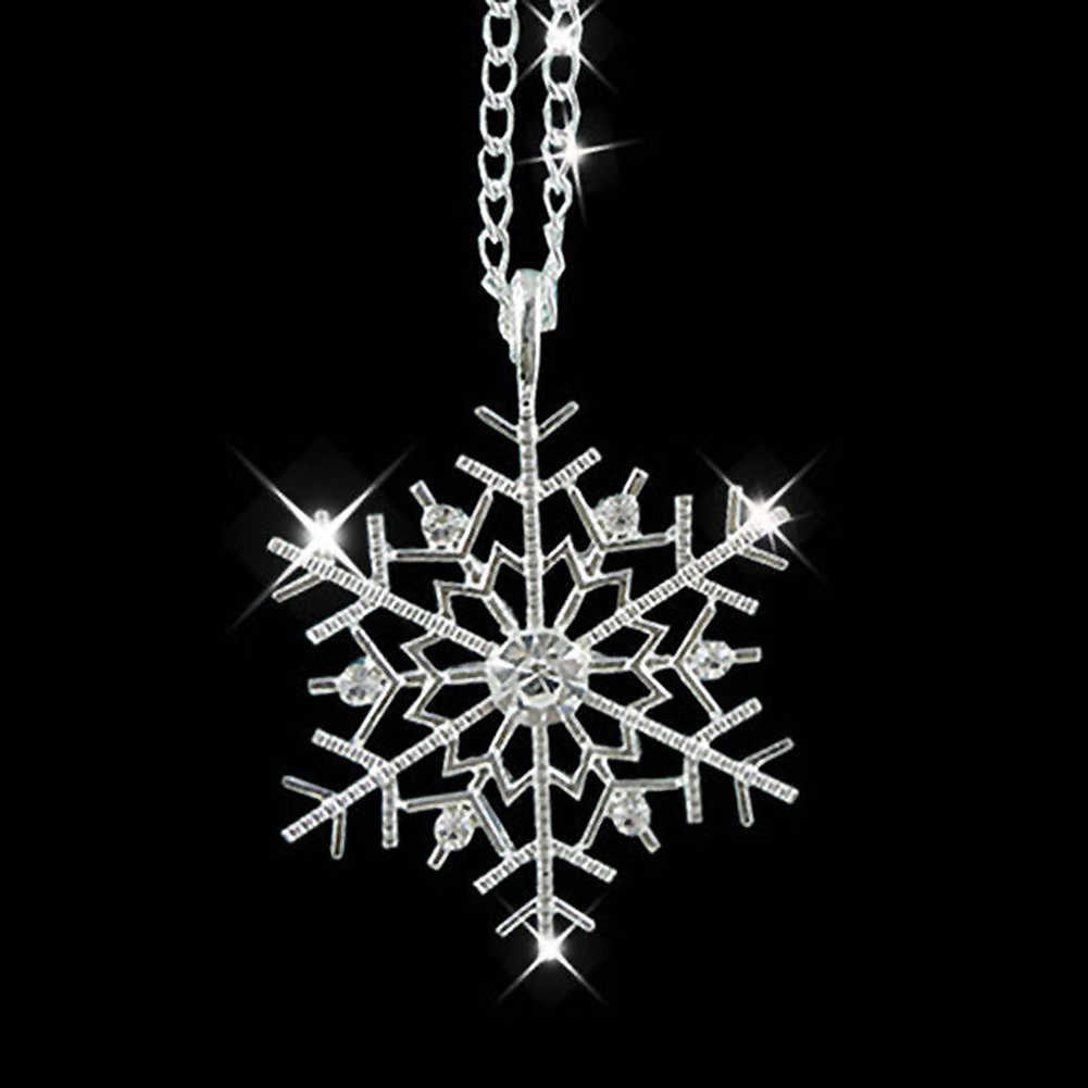 Fashion Frozen Snowflake Shiny Rhinestone Pendant Chain Necklace Christmas Gift