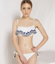 july sand embroidery flower hem bikini set crop and tie side