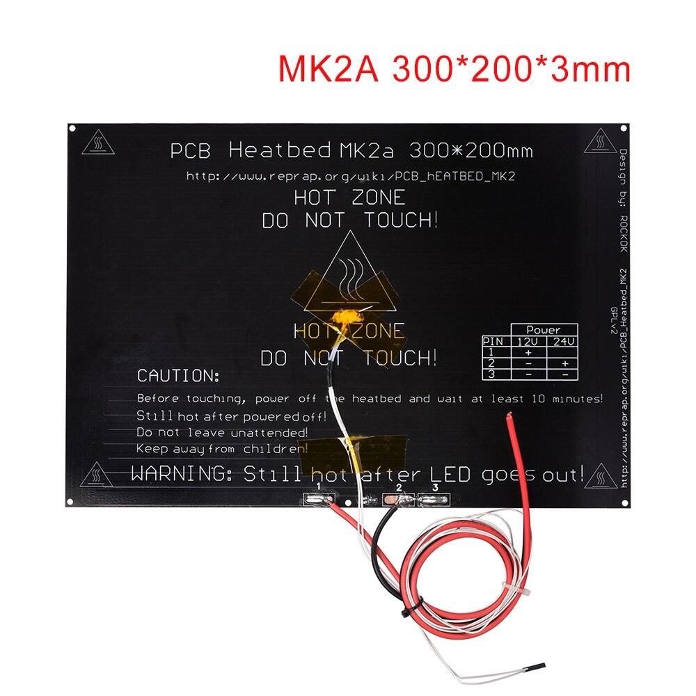 3D Printer Parts MK2A 300*200*3.0mm Aluminum Heatbed + LED Resistor + Cable +100K Ohm Thermist For 3D Printer RepRap MK2B Hotbed