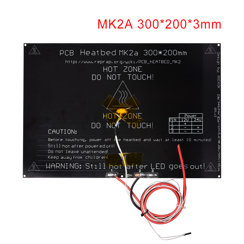 3D Printer Parts MK2A <font><b>300*200</b></font>*3.0mm Aluminum <font><b>Heatbed</b></font> + LED Resistor + Cable +100K ohm Thermist for 3D Printer RepRap MK2B Hotbed image