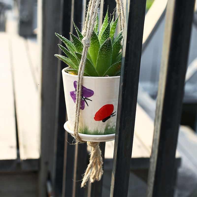 Pot wiszące liny konopie makrama roślin doniczka uchwyt wiszący kosz wieszak domu pionowy ogród dekoracja balkonowa 1Pc 2 rozmiary