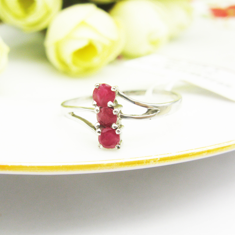 LANZYO 925 sterling natural ruby ring opening ring fashion gifts can be customized to circle New wholesale j030302agh