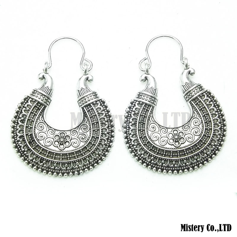 Antique Silver Color Carved Moon Flower Vintage Ethnic Drop Dangle Earrings Whole Jewelry Jewellery Gift For Women S In From