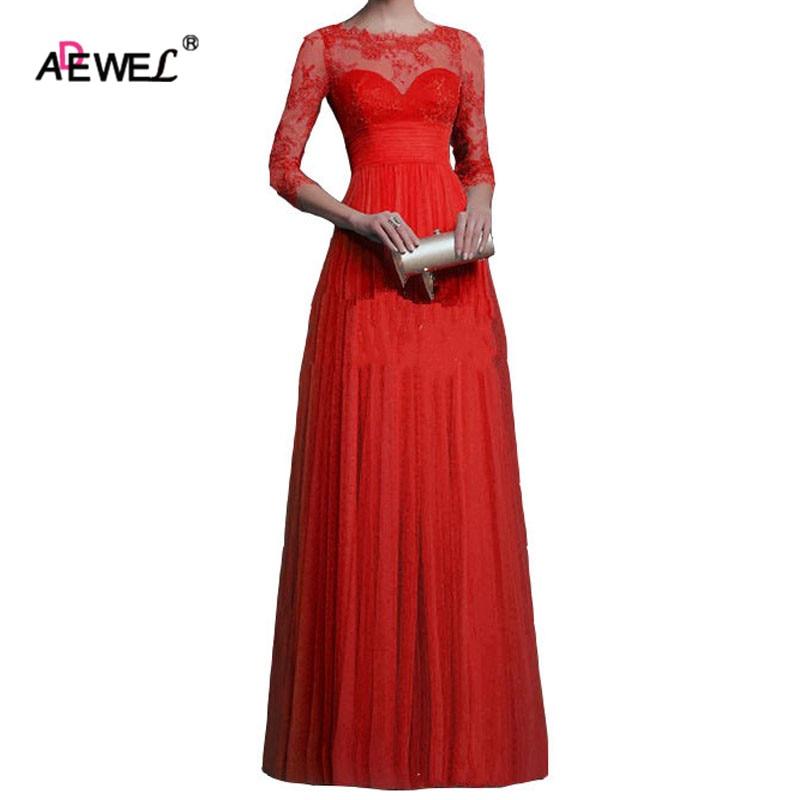 ADEWEL Lace Applique Detail Split Front Party Gown Elegant Long Dress Sexy Dress To Floor Blue Vintage Dress vestido de renda