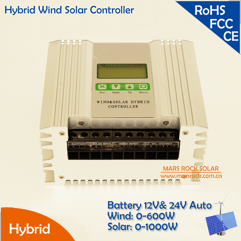 Hybrid Wind Solar Charger Controller Solar Power 0 1000W, Wind Power 0 600W, 12V & 24V Auto Wide Range Power Adjustable