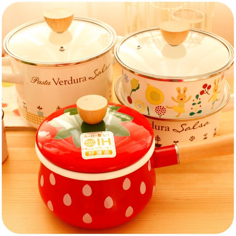 Creative Cute Pot Enamel Milk Pot High Temperature Resistant Small Soup Cook Pots General Use For