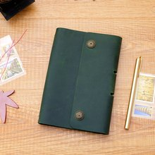 Handmade leather cowhide diary traveler a6 loose leaf notebook vintage notepad genuine leather gift цена