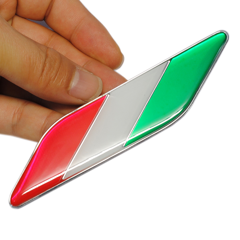 Image 5 - 1pair Italy Car Styling Metal Logo Aluminum Italian Flag Fender Emblem Badge Sticker for Fiat Alfa Romeo Abarth Car Accessories-in Car Stickers from Automobiles & Motorcycles