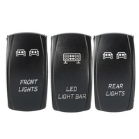 3Pcs 5 Pins Front Rear And LED Light Laser Rocker Backlit Switch For Universal Plastic Shell