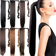 Promotion 22″ Long False Hair Tail Ponytail Hairpieces Synthetic Long Straight Hairpiece Fake Hair Ponytails Apply
