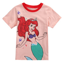 pudcoco 2017 New Cute Baby Girls Summer Short Sleeve T-shirt Tops Cartoon Mermaid Girl Clothes T shirt