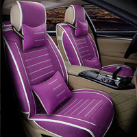 Breathable Car Seat Covers Flax Cloth for Fiat Uno Palio Linea Punto Bravo 500 Panda SUV Car Accessories Auto Styling 3D Leather