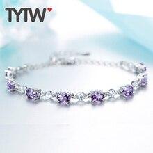 TYTW S925 Серебряный подарок на день матери подарок AAA Zircon Блестящий браслет Подарочный подарок для наряда для женщин Браслет для женщин