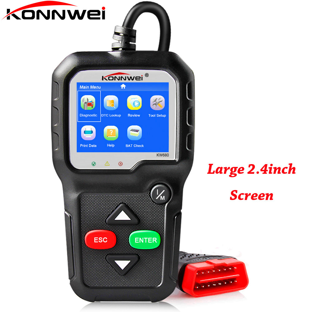 Newest OBD2 Scanner OBD 2 Autoscanner KONNWEI KW680 With Multi-languages All OBD2 Function Automotive Scanner in Portuguese
