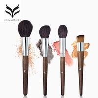 HUAMIANLI 4 Stuks/set Blush Borstel Eyelier Up Borstel Hoogtepunt Massief Houten Handvat Dier Haar Beauty Make Up Borstels