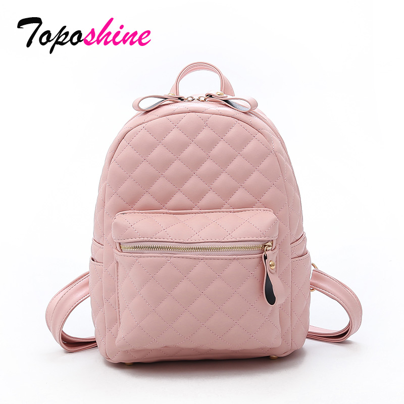 Backpack Student-Bag Solid-Color New-Fashion Wild Lozenge Autumn Casual High-Quality