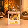 Hoomeda MC002 Счастье Колесо обозрения ПОДЕЛКИ Кукольный Домик Комплект Со СВЕТОДИОДНОЙ Подсветкой Музыка Декор Коллекция День Рождения Праздник Подарок Для Детей