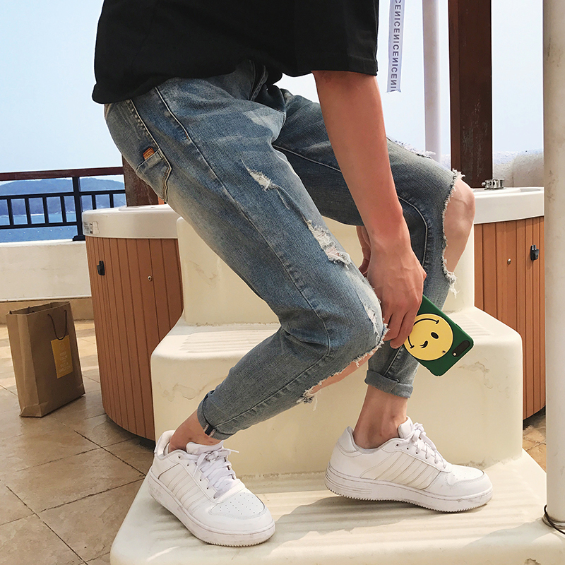 Summer New Jeans Men Stretch Slim Fashion Torn Hole Denim Pants Man Streetwear Trend Wild Hip hop Tight Jeans Male Clothes in Jeans from Men 39 s Clothing