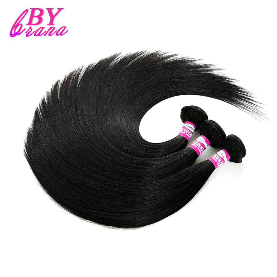 Bybrana Hair Brazilian Straight Hair 100% Human Hair Weaves Length Remy Hair Weft 8-30inch Natural Color ...