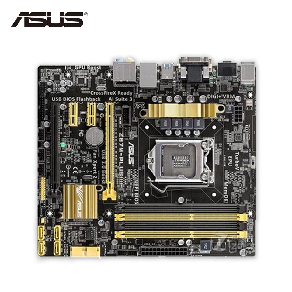 Asus Z87M-PLUS Original Used Desktop Motherboard Z87 Socket LGA 1150 i7 i5 i3 DDR3 32G SATA3 USB3.0 Micro-ATX new original tr 8505 transfer belt unit for kyocera taskalfa 5550ci