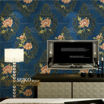 beibehang 3D Stereo Embroidered Bronzing Nonwoven Fabric Bedroom Living Room TV Background Wallpaper papel de parede
