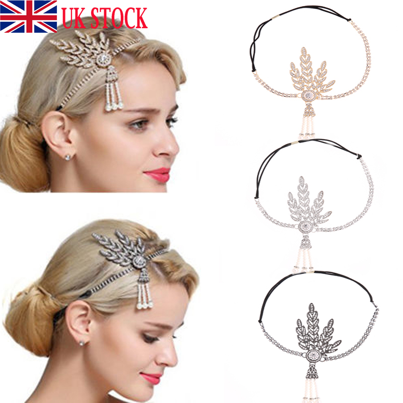 1920s Flapper Great Gatsby Headband Pearl Charleston Party Bridal Headpiece HOT