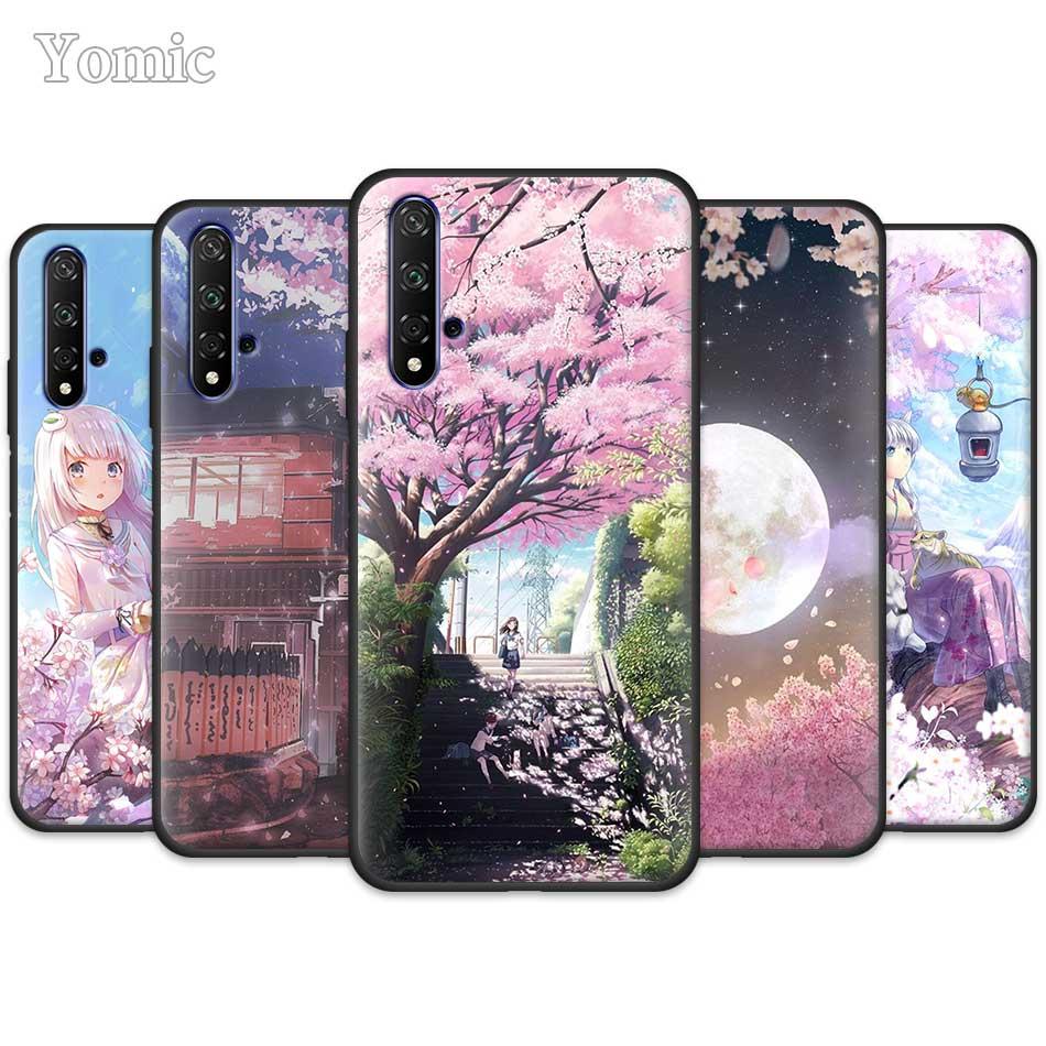 Black Silicone Case for Huawei Honor 8X 9X 10 20 Lite 20s 8C 8S Play 3 3e V30 Pro TPU Cover anime Plum Cherry blossom girl Coque