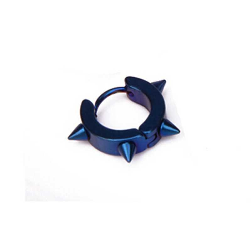1 unisex 티타늄 스틸 후프 고딕 블링 힙합 가시 펑크 리벳 귀 스터드 스파이크 귀걸이 새로운