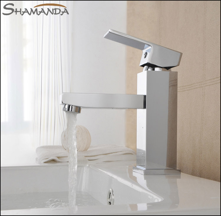Free Shipping Bathroom Products Solid Brass Chrome Finished Square Basin Faucet Mixer,Sinlge Handle Sink Basin Faucet Mixer Tap free shipping gold clour solid brass bathroom sink faucet new bathroom mixer tap square design