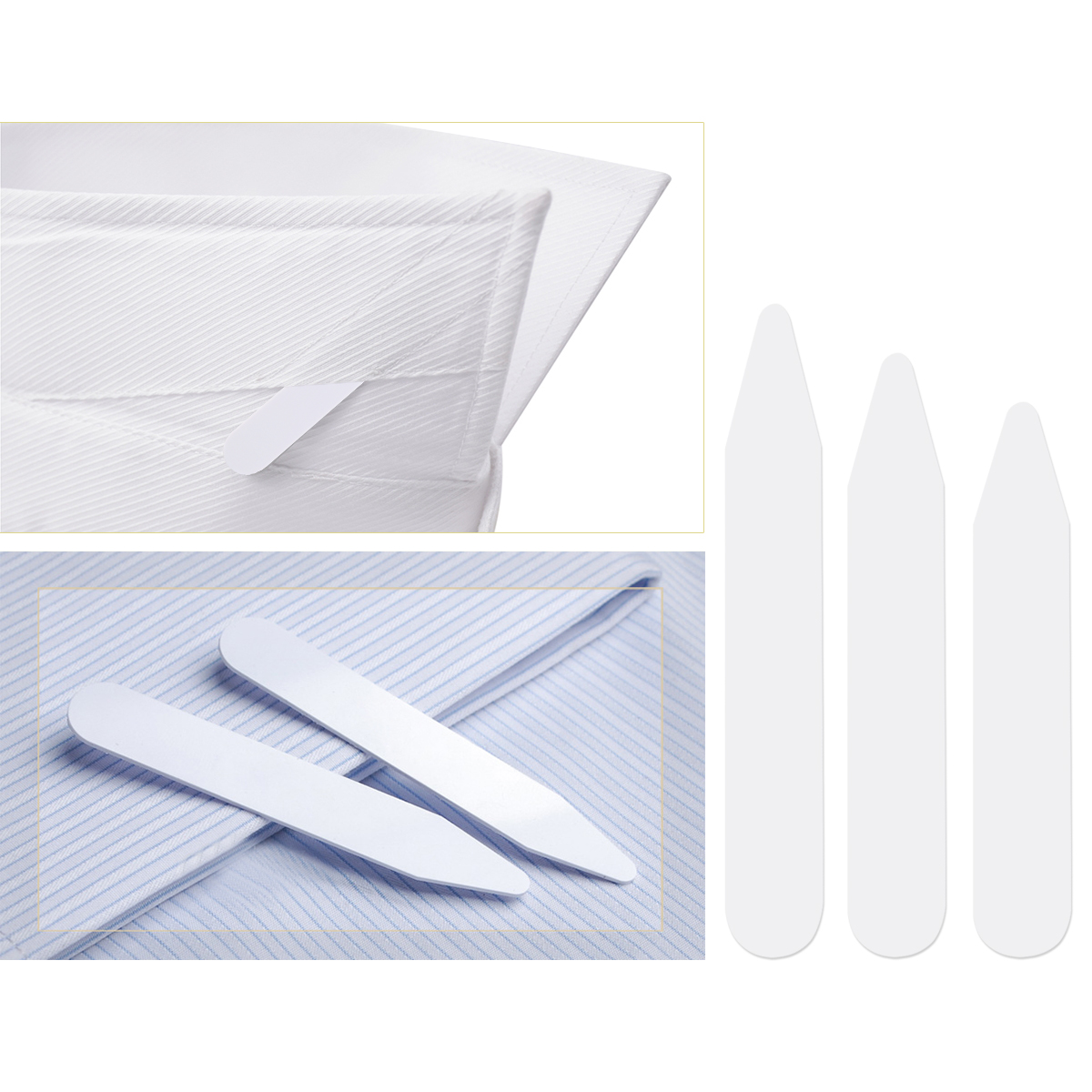 "200pcs Plastic White Shirt Collar Stays Bones Stiffeners 3 Sizes 2.5/"" 3/"" and 2/"""