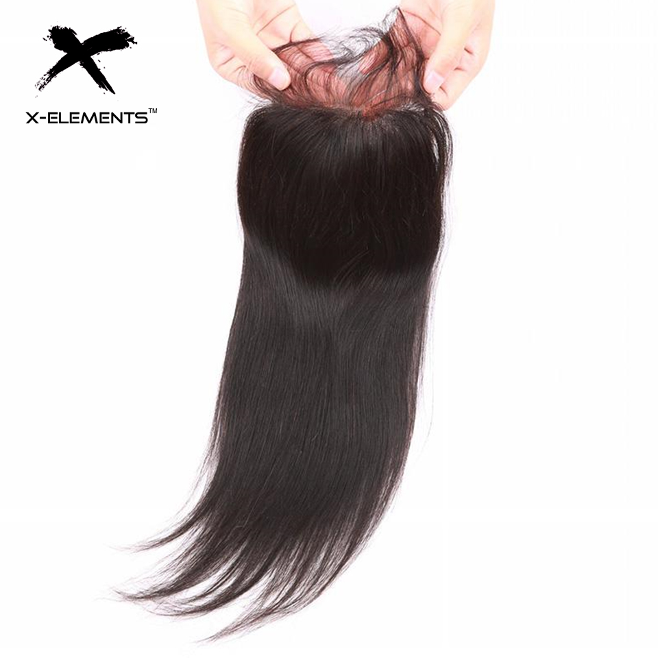 X-Elements Hair 4 * 4 Closure 1 Piece Extensions Mänsklig Straight - Mänskligt hår (svart) - Foto 1