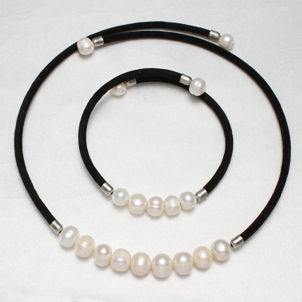 At a loss 100% real natural freshwater pearl jewelry for women necklace and bracelet charm black velvet Torques accessaries