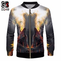 OGKB 2018 New Fashion Animal Jacket 3d Casual Cool Full Printed Fire Wolf Coat With Zipper Windbreaker Warm Tracksuit Unisex 6xl