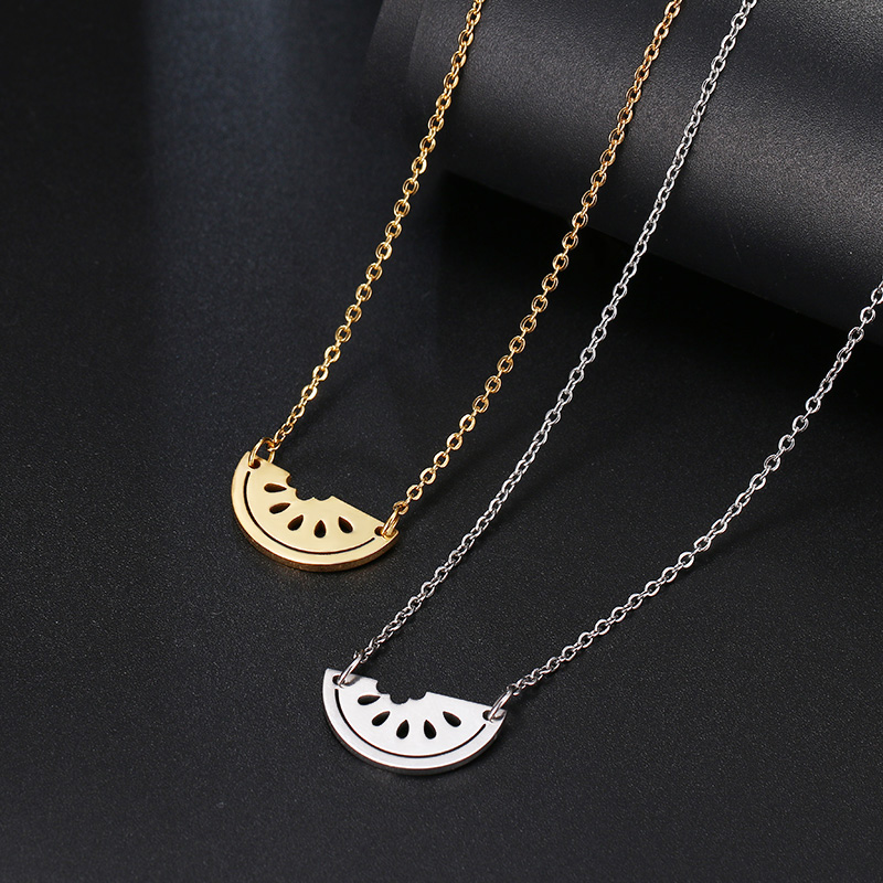 DOTIFI Stainless Steel Necklace For Women Lover's Gold And Silver Color Watermelon Pendant Necklace Engagement Jewelry 2