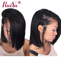 RUIYU 13x6 Bob Wigs Short Human Hair Wigs For Black Women 150% Density Malaysian Straight Lace Front Human Hair Wigs Remy Wigs