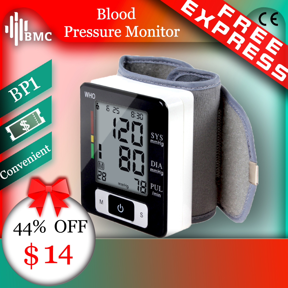 BMC Wrist Digital Blood Pressure Monitor Automatic Sphygmomanometer Smart Medical Machine Measure Pulse Rate Fitness Measurement(China)