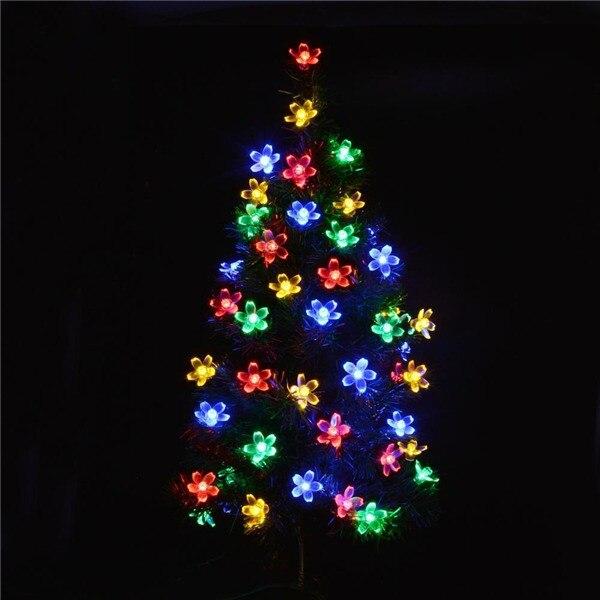 2016 new Solar Power Fairy String Lights 7M 50LED Leder Peach Blossom Decorative Garden Lawn Patio Christmas Trees Wedding Party