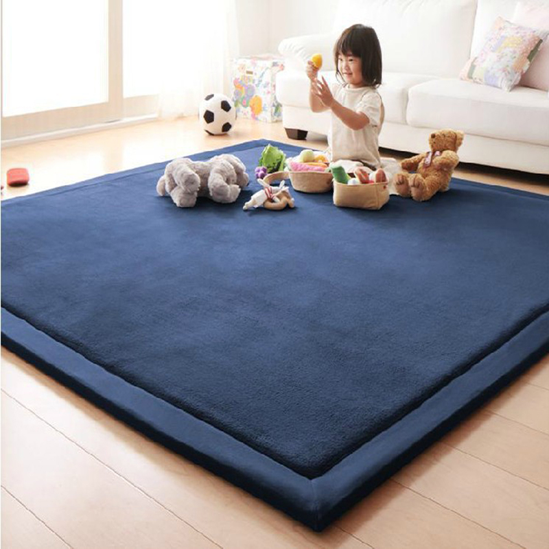 цена 2cm Thick Coral Fleece Children's Rug Play Mats Carpet Baby Crawling tatami Mats Cushion Mattress for Bedroom Soft Floor