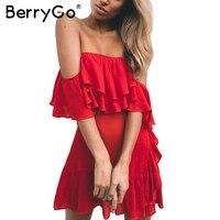 BerryGo Lace Up Sash Ruffle Sexy Black Dress Off Shoulder Backless Summer Dress Women 2017 Zipper