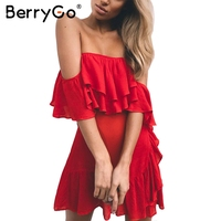 BerryGo Lace Up Sash Ruffle Sexy Black Dress Off Shoulder Backless Summer Dress Women 2017 Zipper