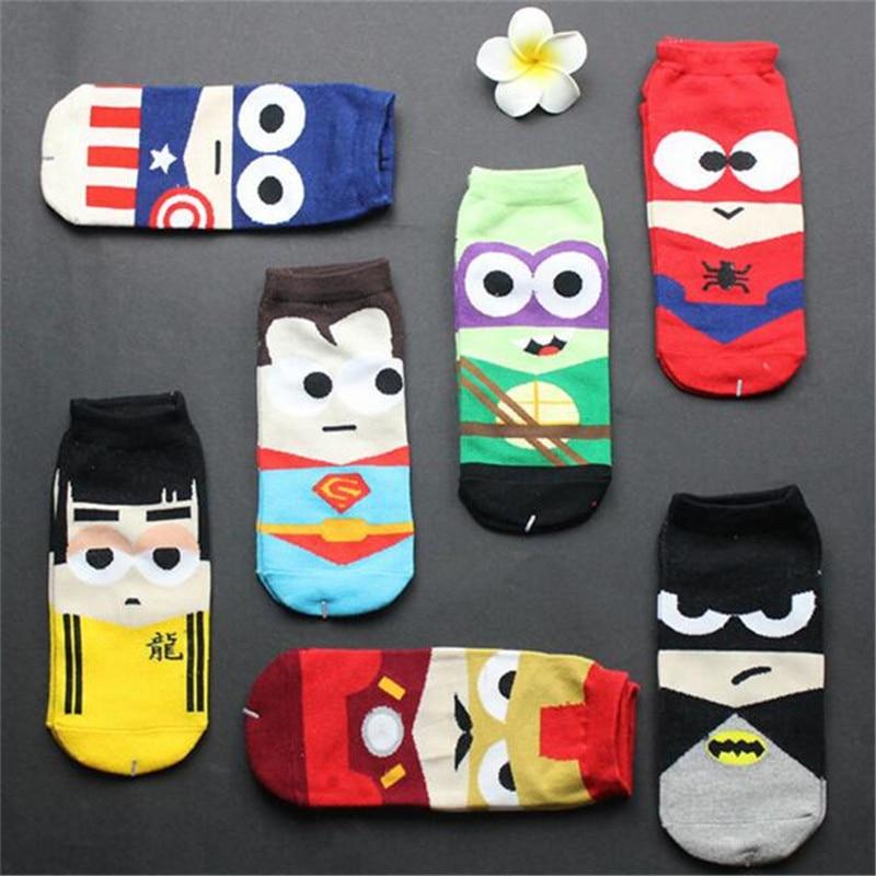 Avengers Socks Baby Girls Socks Cartoon Batman Captain America Iron Man Spiderman Bruce Lee Socks Women Men Cotton Sock