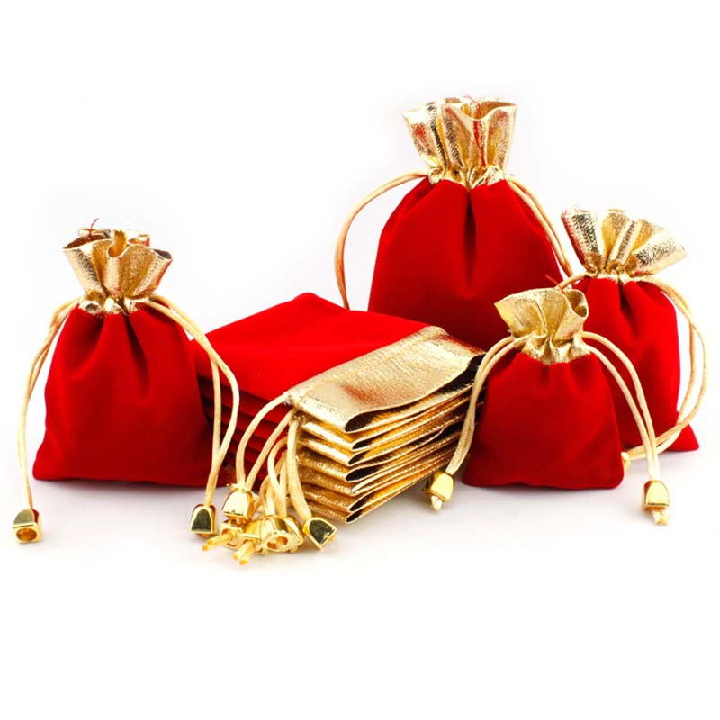 5pcs/lot Multi Size Red+Gold Color Velvet Package Bags 7x9 9x12 12x16cm Organza Drawstring Gift Bags Wedding Jewelry Pouches