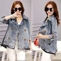 2016 Весной и Осенью новый Корейский свободные большой размер denim dress A слово мыс джинсовый жакет женщины короткий параграф прилив
