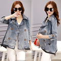 2016 primavera e outono nova coreano solto tamanho grande denim dress a palavra capa mulheres jaqueta jeans curto parágrafo maré