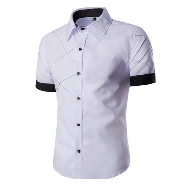 2016 Nova Chegada Camisas dos homens Moda Slim Fit Camisa de Vestido Camisas de Manga Curta Casuais Turn-down Collar
