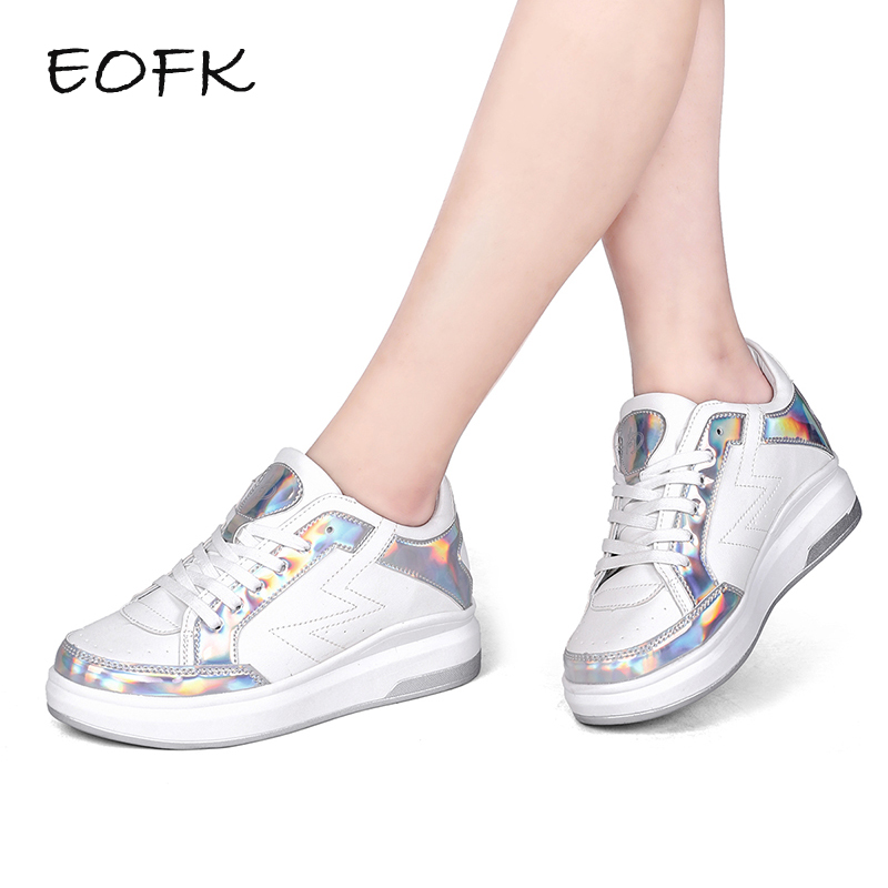EOFK Women Sneakers Thick Flats Shoes PU Flat Platform White Beautiful Shoes Women's Lace Up Female Shoes Woman casual shoes beffery 2018 british style patent leather flat shoes fashion thick bottom platform shoes for women lace up casual shoes a18a309
