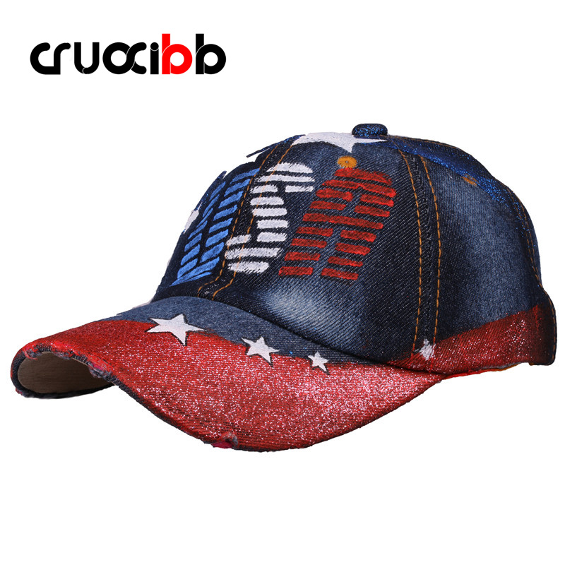 Painting Baseball Cap Unisex USA Flag Stars Shape Baseball Hat Men Bone Women Casquette Girls Boys Shiny Art Caps Denim Fashion showersmile brand sherlock holmes detective hat unisex cosplay accessories men women child two brims baseball cap deerstalker
