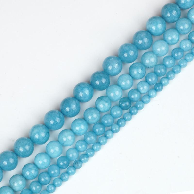 "Beautiful 6//8//10mm Natural blue Gemstones Round Jade Loose Bead 15""/'AAA"