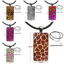 Glass Cabochon Choker Pendant Rectangle Necklace Stainless Steel Color Jewelry For Girls Gift Fashion Sexy Leopard Print Top(China)